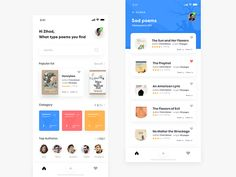 Poetry App Concept designed by Zihad-Islam. Connect with them on Dribbble; the global community for designers and creative professionals. Mobile App Design, App Ui Design, User Interface Design, Interface App, Design Design, Template Web, Website Template, Profile App, Library App
