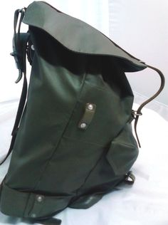 Nylon Canvas  & Leather Camping Backpack, Leather Frame GREEN