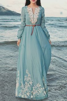 Flower Embroidered Long Sleeve Maxi Dress