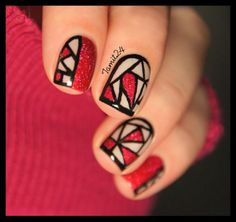 Stained glass nails: Orly Miss Conduct. | See more at http://www.nailsss.com/acrylic-nails-ideas/3/