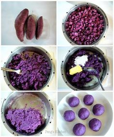 Purple sweet potato filling for mooncakes or mochi . - Purple sweet potato filling for mooncakes or mochi - Ube Recipes, Waffle Recipes, Dessert Recipes, Cooking Recipes, Sushi Recipes, Vegan Recipes, Mochi Waffle Recipe, Mooncake Recipe, Delicious Desserts