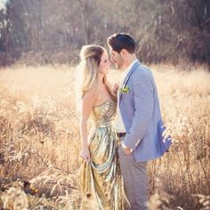 A gorgeous gold dress brings this casual Engagement Session to a whole new level of glamour.
