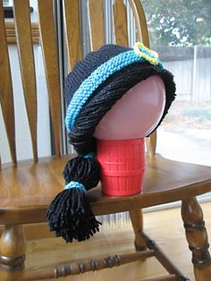 The Princess Jasmine Hat is knit in the round, and uses only stockinette stitch and garter stitch. It works up quickly, and is perfect to dress up any little girl to look like a princess.
