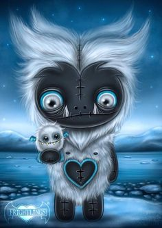 Creepy Drawings, Cute Drawings, Cute Monsters, Little Monsters, Baby Animals Super Cute, Cute Animals, Dark Fantasy Art, Dark Art, Pastel Goth Art
