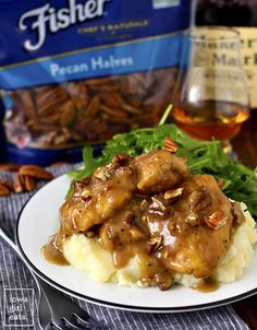 Maple Bourbon Pecan Chicken is a Heavenly, 1-skillet dinner recipe! Gluten-free, ready in just 20 minutes, and made with pantry staples. | iowagirleats.com