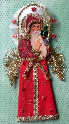 Vintage Look Victorian Christmas Ornament -German Scrap Santa,Crepe Paper Robe,German Dresdens,Vintage Holly,VintageGerman Tinsel,Spun Glass by HavAMarileeChristmas on Etsy
