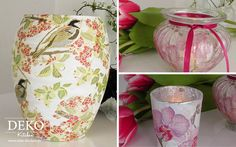 DIY Vasen mit Serviettentechnik Deko-Kitchen
