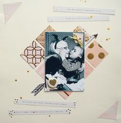 "Never Cut the Scrap!: ""Kiss me"" layout. #mymindseye #scrapbooking"
