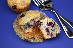 Blueberry muffins with a surprise cream cheese center! Yummy!