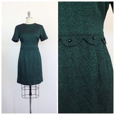 60s Green and Black Acetate Wiggle Dress / 1960s Vintage Scalloped and Beaded Speckle Party Dress /  Medium / Size 6