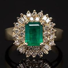 Natural Emerald & Diamond Ring w/ Halo in 14K Gold   | More here: http://mylusciouslife.com/bling-fling-engagement-ring-pictures/