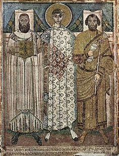 This Byzantine piece of art represents the ancient clothing piece worn by priests called the Amice. This strip of linen was used to make a collar that attached at the shoulders that was worn during mass.