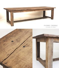A Pierre Conje 'Simply Pierre' Farm Greyton dining table in French Oak. This particular table has an especially weathered look - very popular for farm-style kitchens