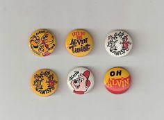 Set of 6 1962 Alvin and The Chipmunks Pinbacks Pins