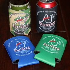 AJ's Elixirs branded collapsible foam can koozies available in four colors and printed on both sides.