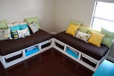 Here is a great project from Kara of Kara's Korner.    She made two matching daybeds, and they look fabulous, check out her creations:I made my first daybed back in May, and immediately decided I wanted to build another one for the same room.  Ana White of Knock Off Wood is so amazing for providing free plans …