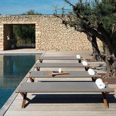 Loungebedden – Ethimo – Elite – Sunbed in Teakhout Outdoor Landscaping, Outdoor Pool, Outdoor Gardens, Garden Furniture, Outdoor Furniture, Outdoor Decor, Design3000, Backyard Retreat, Pool Houses