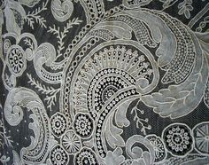 Atq Rose Point de Gaze Needle Lace Bride Wedding Veil Shawl Best LG RARE Hand W   eBay