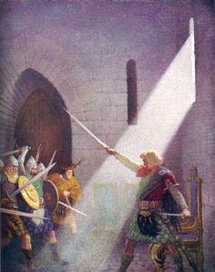 "Wallace draws the King's sword: ""The Scottish Chiefs"" by Jane Porter / Illustrated by N.C. Wyeth  (Scribner, 1941)"