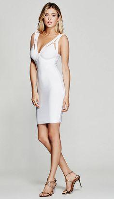 The Olivia Bandage Dress in white | MARCIANO.com