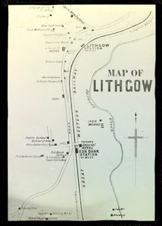 Old Map of Lithgow Station Map, Imperial Hotel, Vintage Maps, Blue Mountain, Australia, History, Stencil, Trains, Graphics