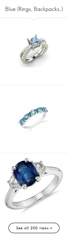 """""""Blue (Rings, Backpacks...)"""" by carlou863 ❤ liked on Polyvore featuring jewelry, rings, anel, joias, wedding ring, crown rings, white gold wedding rings, crown wedding rings, diamond cross ring and crown engagement rings"""