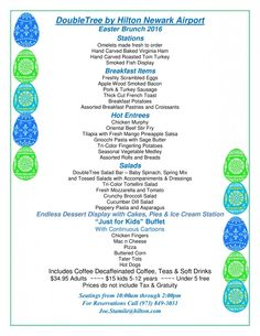 DoubleTree by Hilton Hotel Newark Airport Easter Menu
