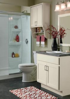 Simple and elegant storage for a smaller bathroom. #BathroomCabinets Columbia, MD