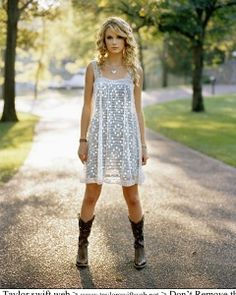 White lace dress with cowboy boots. My new boots would go amazing with a dress like that!!