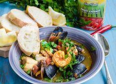 Supa toscana cu rosii si fructe de mare Fish And Seafood, Fresh Rolls, Potato Salad, Potatoes, Chicken, Meat, Ethnic Recipes, Supe, Toscana