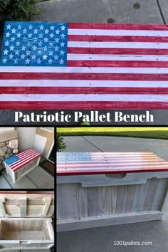 Patriotic Pallet Bench Features Hidden Storage This patriotic pallet bench has a hidden storage compartment. The body of the project was whitewashed, and the top is done with chalk paint in a flag pattern. Pallet Flag, Pallet Crates, Wooden Pallets, Pallet Benches, Outdoor Pallet, Pallet Wood, 1001 Pallets, Recycled Pallets, Latest Pallet Ideas