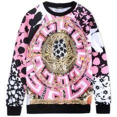 Versace Sweatshirt ($1,060) ❤ liked on Polyvore featuring tops, hoodies, sweatshirts, pink, pattern tops, pink sweat shirt, print top, pink sweatshirt and versace top