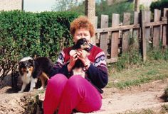 https://flic.kr/p/uQtvHA | Mary and Fergus the pup at Bolsover. | Fergus was six weeks old when I took this picture. Thats Bruno our Sheltie on the left.  Taken with Pentax MX 33mm SLR.