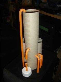 Chemical plant from cardboard tubes and straws