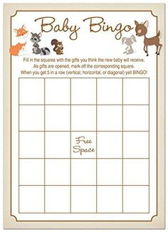 24 Cnt Woodland Animals Baby Shower Bingo Cards MyExpression.com http://www.amazon.com/dp/B014GMIS4C/ref=cm_sw_r_pi_dp_Ei7Owb1803S8K
