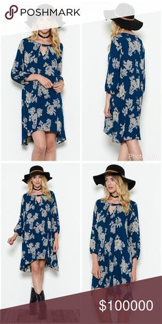 Teal floral print 3 qtr sleeve keyhole top dress! Hi lo cut with 3 qtr sleeves and a button keyhole top with Lindsay light pleating hi lo flowy cut Dresses