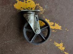 Antique roulettes roues 5 pouces en fonte Vintage industrielle roue 5TM
