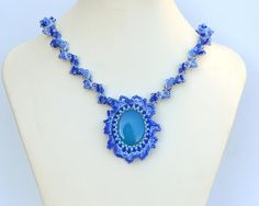 Blue chalcedony necklace on a spiral chain N571 by Fleur-de-Irk.deviantart.com on @DeviantArt