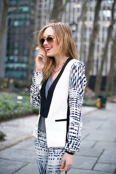 silk patterned suit
