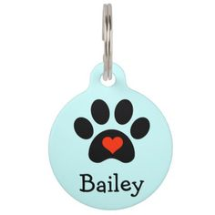 Black Pawprint with Red Heart Custom Pet Name Tag - click/tap to personalize and buy