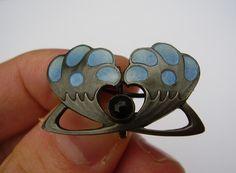 Art Nouveau Jugendstil Levinger Depose 900 Silver Brooch Pin Enamel Stone Silber | eBay
