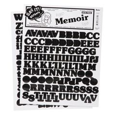 5/8 inch Memoir Font Alphabet Stickers: Black
