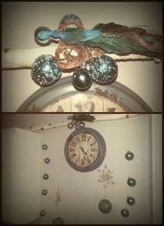 Christmas kitchen decor -teal blue/gold ornaments with my  diy nest for my peacock!