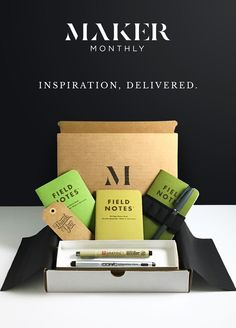 A monthly box of designer notebooks and creative supplies.