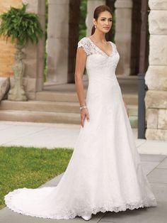 Satin V-Neckline Low V-Back Bodice A-line Wedding Dress