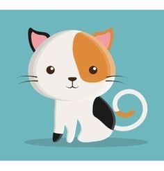 cat cartoon pet design vector