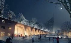 """The Mayor of Tampere has announced Danish architects COBE and Finnish Lundén Architecture as winners of an international competition for the Tampere Travel and Service Centre. The winning scheme, """"Reconnecting Tampere"""" will join two disparate districts in the heart of Finland's second largest city and establish a """"new urban living room"""" beneath an expansive steel canopy."""