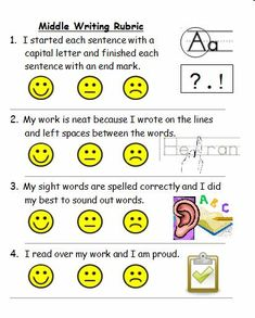 Middle Writing Rubric use during conference time with students 1st Grade Writing, Work On Writing, Writing Workshop, Kids Writing, Teaching Writing, Writing Ideas, Teaching Ideas, Kindergarten Language Arts, Kindergarten Literacy