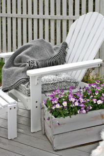adirondack chair and box of pansies Outdoor Spaces, Outdoor Chairs, Outdoor Living, Outdoor Decor, Adirondack Chairs, Dining Chairs, Dream Garden, Home And Garden, Vibeke Design