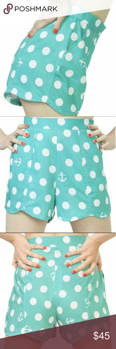 FINAL 🆕Iron Fist, XL, High Waist Anchor Shorts Brand new with tags Iron Fist shorts!  Teal with white polka dots & anchors.  Slight scalloped hemline.  High waisted with a left side zip for easy closure.  2 front pockets (1 pocket on each side).  When I bought these, they came in the mail with a small defect--one polka dot on the front waist line has a few tiny black dots in it.  It's barely noticeable, and the shorts are in otherwise new condition!  Size XL. Iron Fist Shorts